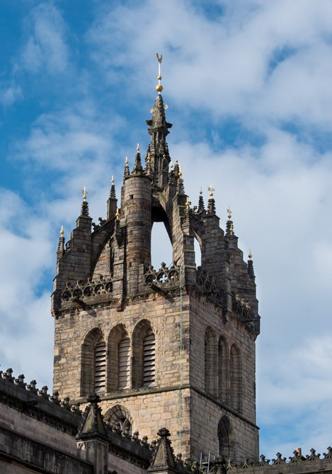 Crown spire with weathercock